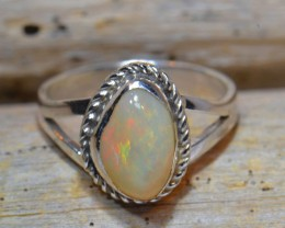 Sz6.5 SOLID ETHIOPIAN CRYSTAL OPAL HIGH QUALITY .925 STERLING FABULOUS RING