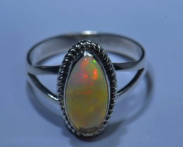 Sz7 SOLID ETHIOPIAN CRYSTAL OPAL HIGH QUALITY .925 STERLING FABULOUS RING