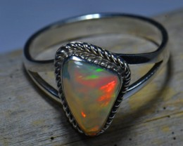 Sz8.5 SOLID ETHIOPIAN CRYSTAL OPAL HIGH QUALITY .925 STERLING FABULOUS RING