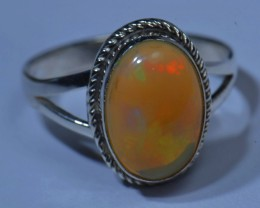 Sz8 SOLID ETHIOPIAN CRYSTAL OPAL HIGH QUALITY .925 STERLING FABULOUS RING
