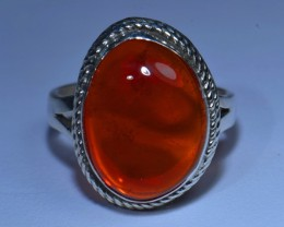 Sz7 MEXICAN FIRE OPAL QUALITY .925 STERLING FABULOUS RING