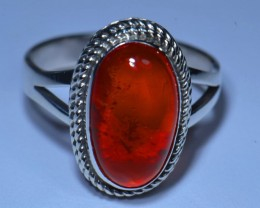Sz7 MEXICAN FIRE OPAL HIGH QUALITY .925 STERLING FABULOUS RING