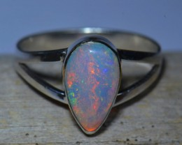 Sz6.5 SOLID ETHIOPIAN PINFIRE OPAL HIGH QUALITY .925 STERLING FABULOUS RING