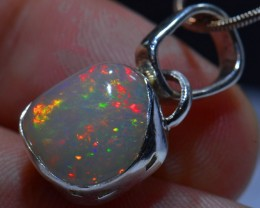 23ct BRIGHT ETHIOPIAN WELO OPAL HIGH QUALITY .925 STERLING PENDANT SPECIMEN