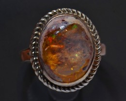 11.5 Sz Mexican Fire Opal Solid Sterling Silver Ring