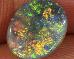 2.6ct 10.5x8.5mm Solid Lightning Ridge Black Opal [LO-1027]