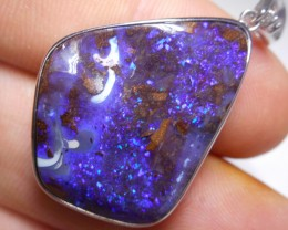 36.3ct Quality Deep Blue Boulder Opal Polished Stone Pendant (Sterling, mar