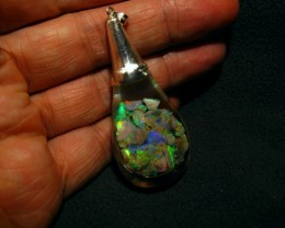 Beautiful Floating Opal Necklace with 6+ carats Lightning ridgeOpal.  Sterl