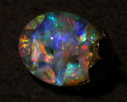 Floating Opal necklace w Lightning ridge crystal Opal 3+ carats Black Sterl