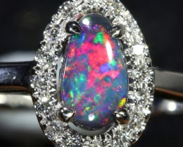 10.10 SIZE BLACK OPAL ENGAGEMENT RING 14 K RING [SOJ2]SH