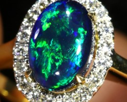 5 SIZE BLACK OPAL ENGAGEMENT RING 14 K RING [SOJ3]SH