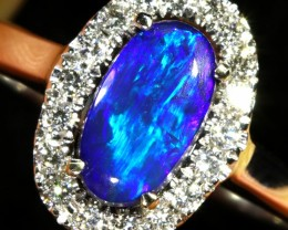 5.2 SIZE BLACK OPAL ENGAGEMENT RING 14 K RING [SOJ9]SH