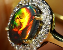 5.7 SIZE BLACK OPAL ENGAGEMENT RING 14 K RING [SOJ7]SH