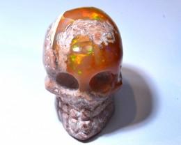 30.72ct Mexican Matrix Cantera Fire Opal SKULL Pendant