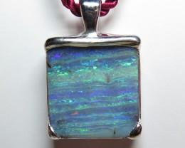 Queensland Boulder Opal Hand Made Silver Pendant