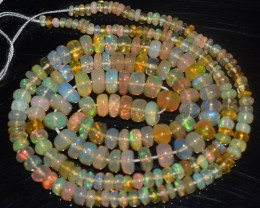 33.85 Ct Natural Ethiopian Welo Opal Beads Play Of Color