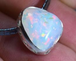 Ethiopian Quality  Multicoloured Opal .925 Silver Pendant