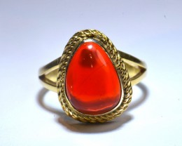 Sz7 Mexican Fire  Opal .925 Silver  Gold 18K Plated Ring