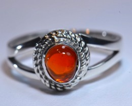 Sz7 Mexican Fire  Opal .925 Silver  Ring