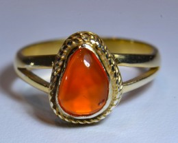 Sz7 Mexican Fire  Opal .925 Silver  Gold Plated Ring