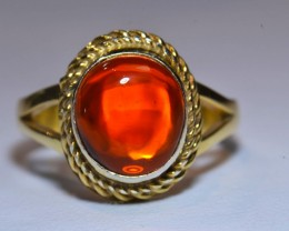 Sz7 Mexican Fire  Opal .925 Silver 18k Gold Plated  Ring