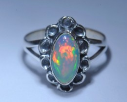 7.5Sz. Natural Ethiopian Welo Opal .925 Sterling Silver Ring Taxco