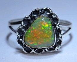 7.5Sz Natural Ethiopian Welo Opal .925 Sterling Silver Ring Taxco