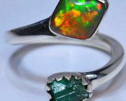 7.5Sz Emerald &   Opal from Ethiopian  .925 Sterling Silver Ring Taxco