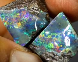 24.66 cts Split Boulder Opal Specimen- 2 Pieces W17