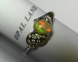 OPAL SIZE 7.5 WOMENS STERLING SILVER RING WITH CUBIC ZIRCONIAS