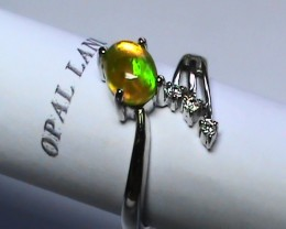 14.30 ct Stunning 925 Silver Bright Multi Color Welo Ring