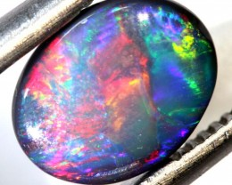 N2 -1.48 CTS QUALITY RED ON BLACK OPAL POLISHED STONE INV-JAN2