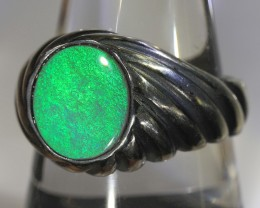2.5ct 11x9.5mm Black Opal Silver Ring [AC-001]