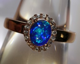 1.2ct 7x5.5mm Solid Crystal Opal Gold Plated CZ Ring Size 6.5 [AC-004]