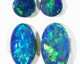 2.45CTS 4pcs  OPAL DOUBLET SKIN SHELL GREAT COLOUR PLAY--S105