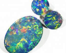 2.34CTS 3pcs OPAL DOUBLET PARCEL GREAT COLOUR PLAY --S110