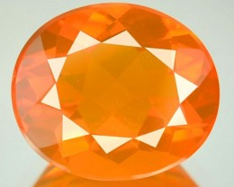 3.63 Cts Natural Fire Orange Mexican Opal Oval Faceted NR