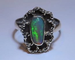 Sz6  ETHIOPIAN  SOLID OPAL QUALITY .925 STERLING FABULOUS RING