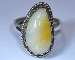 Sz7 WHITE OPAL HIGH QUALITY .925 STERLING FABULOUS RING