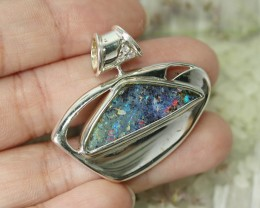 BEAUTIFUL NATURAL BOULDER OPAL  SILVER PENDANT L2526