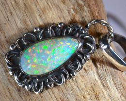 ETHIOPIAN  PINFIRE OPAL QUALITY .925 STERLING FABULOUS PENDANT