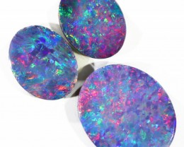 4.24CTS 3pcs OPAL DOUBLET PARCEL GREAT COLOUR PLAY --S113