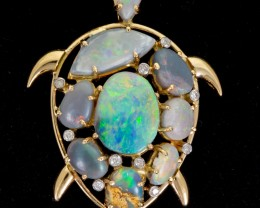 Turtle Shaped Semi-Black Solid Opal Pendant 6.18ct (LP155)