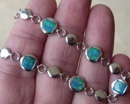 Australian Doublet Opal and Sterling Silver Bracelet (1059b)
