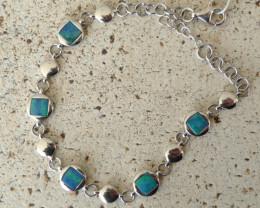 Australian Doublet Opal and Sterling Silver Bracelet