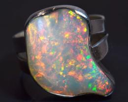 Sz 7 Natural Ethiopian Opal .925 Silver Taxco Handmade Boho Ring Jewelry