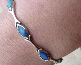 Genuine Australian Doublet Opal and Sterling Silver Bracelet (1058c)