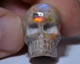 MATRIX OPAL SKULL PENDANT BRIGHT CARVED  QUALITY CRAFTMANSHIP