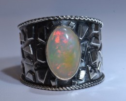 Sz7  ETHIOPIAN  SOLID OPAL QUALITY .925 STERLING FABULOUS RING