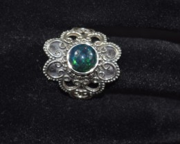 NATURAL ETHIOPIAN BLACK OPAL RING 925 STERLING SILVER Size US 8.5 Treated